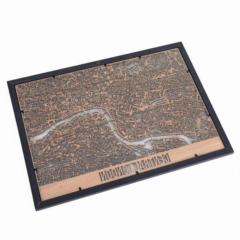 Central London Framed Cutmap Oak 2