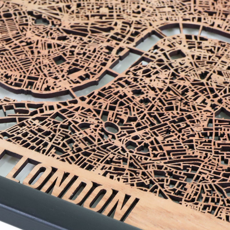 Central London Framed Cutmap Oak 3