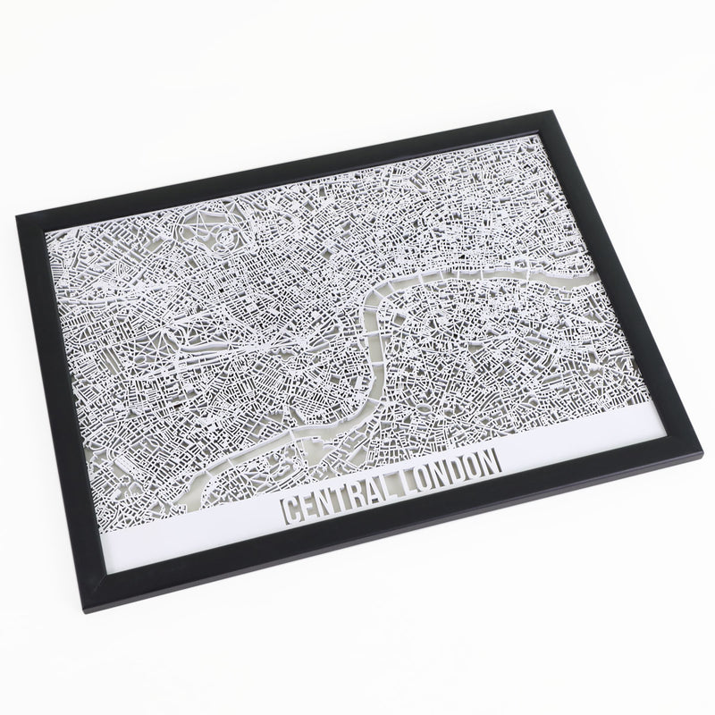 Central London Framed Cutmap White 1