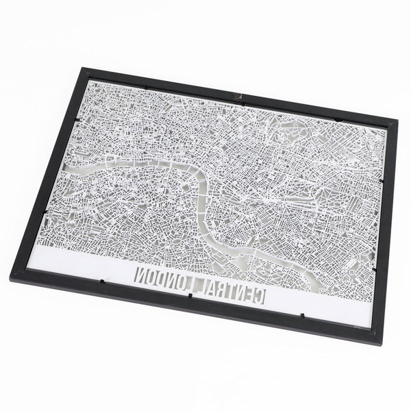 Central London Framed Cutmap White 2