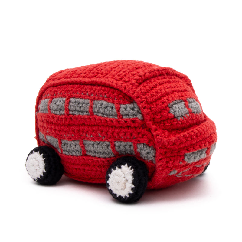 Double Decker Bus Crochet Baby Toy With Rattle 1