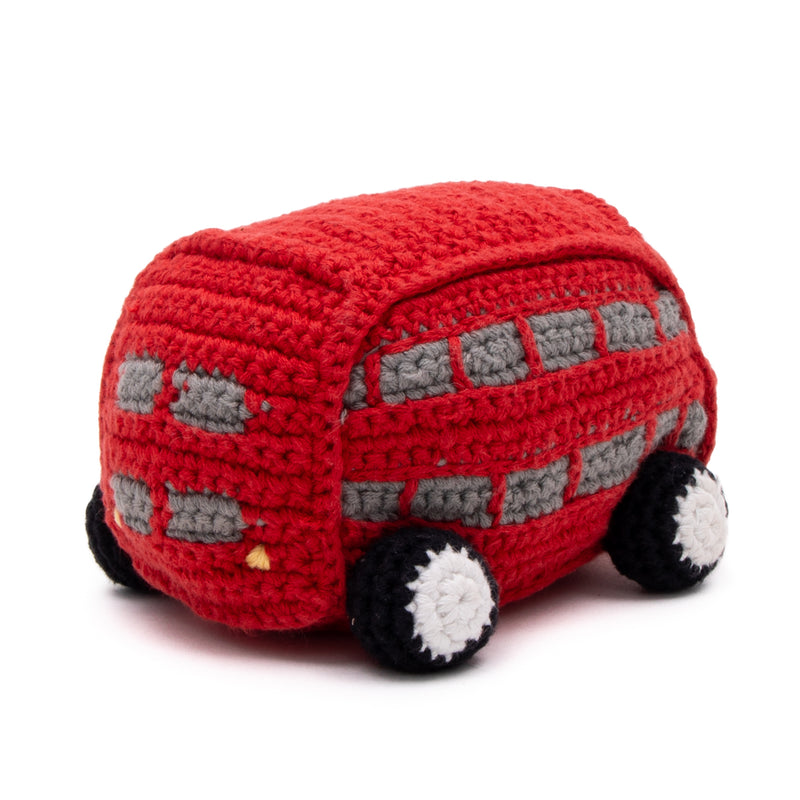 Double Decker Bus Crochet Baby Toy With Rattle 2