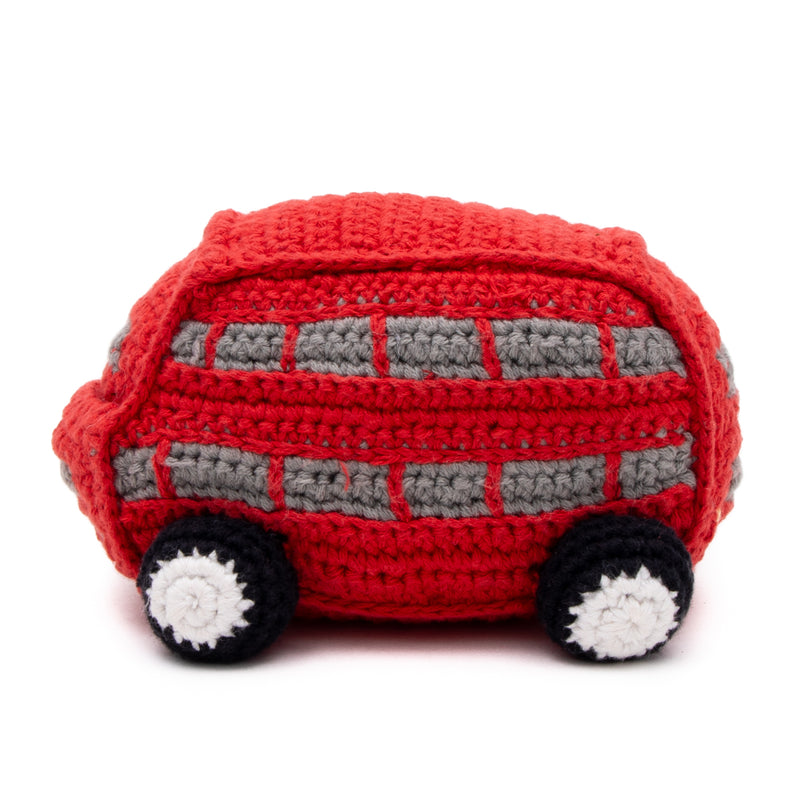 Double Decker Bus Crochet Baby Toy With Rattle 3
