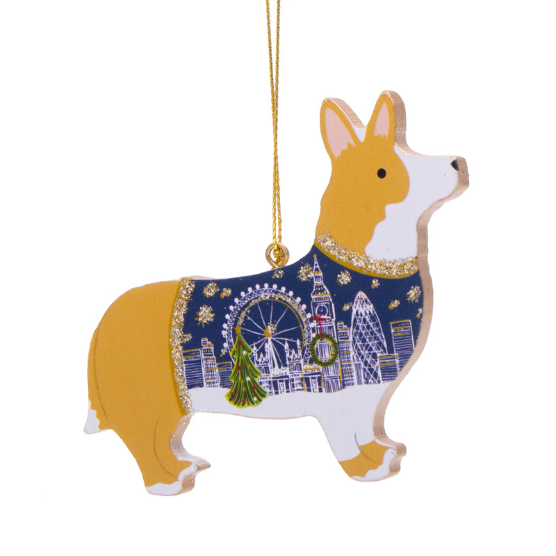 Gisela Graham Wood Corgi Dog Christmas Decoration 1