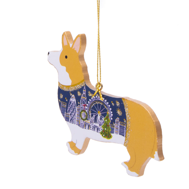 Gisela Graham Wood Corgi Dog Christmas Decoration 2