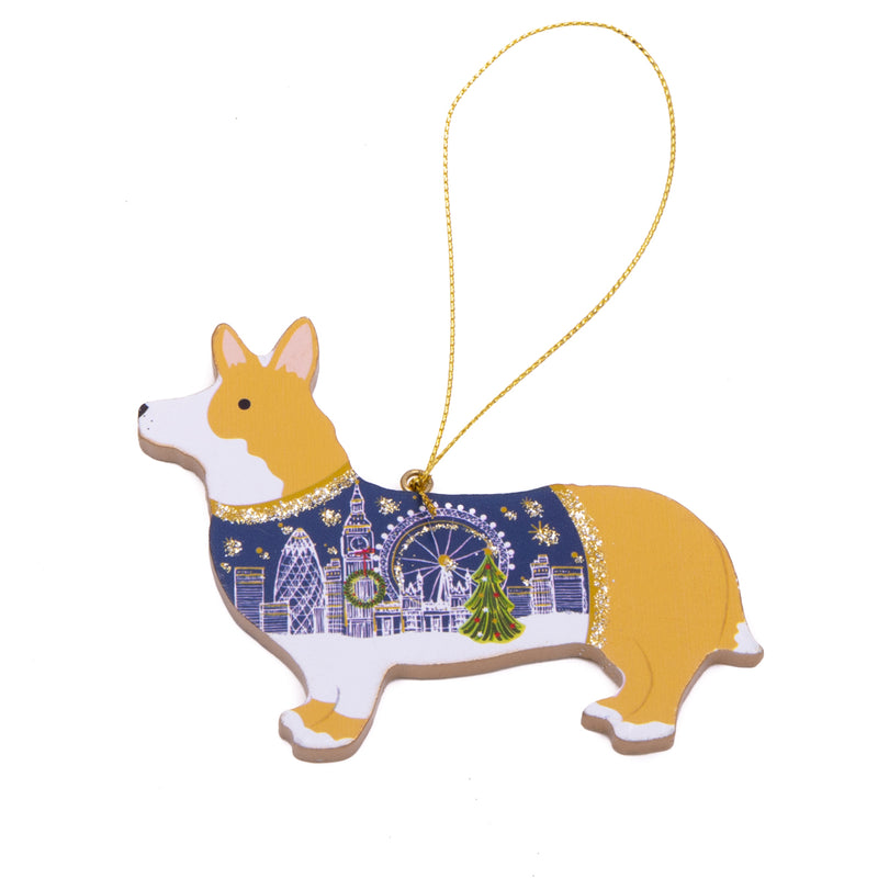 Gisela Graham Wood Corgi Dog Christmas Decoration