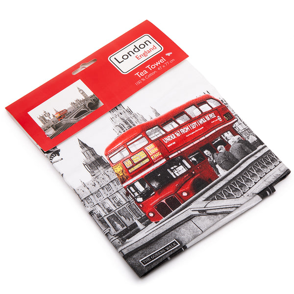 London England Red Bus Tea Towel 2