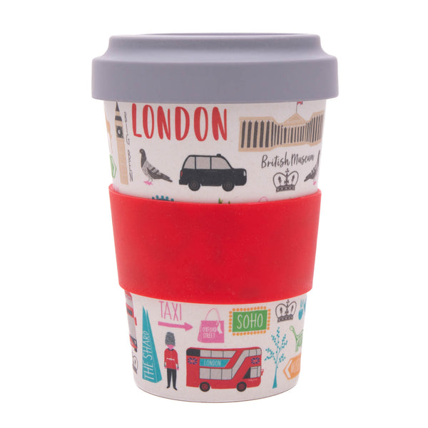 London Adventures Bamboo Travel Cup with sleeve