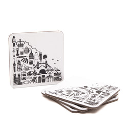 Martha Mitchell British Square Coasters Set 1