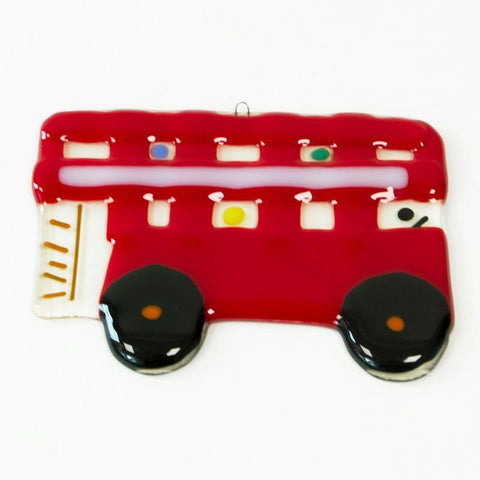 Molten Wonky Red Bus Glass Decoration 1