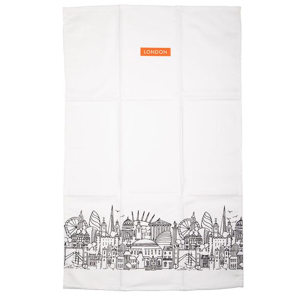 Sketch Double Tea Towel Set - White