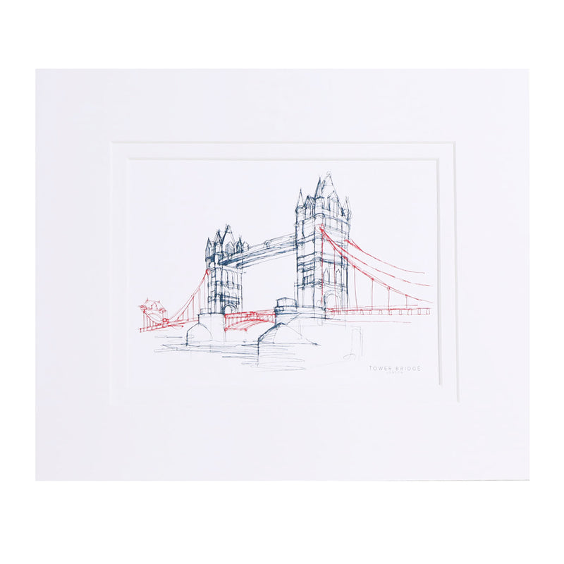 Tower Bridge Line Mounted Print 1