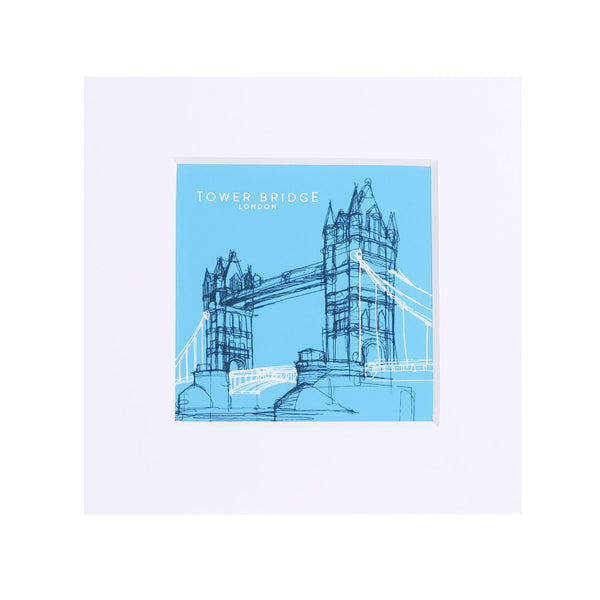 Tower Bridge Line Small Print - Turquoise 1