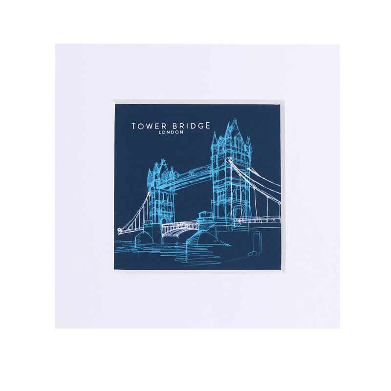 Tower Bridge Line Small Print - Blue