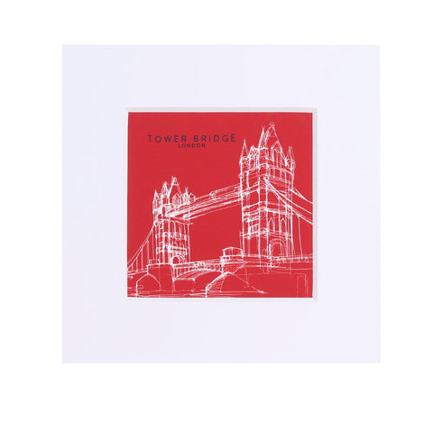 Tower Bridge Line Small Print - Red 1