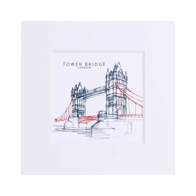 Tower Bridge Line Small Print - White 1