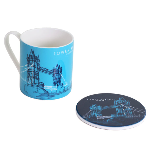 Tower Bridge Line Mug and Ceramic Coaster