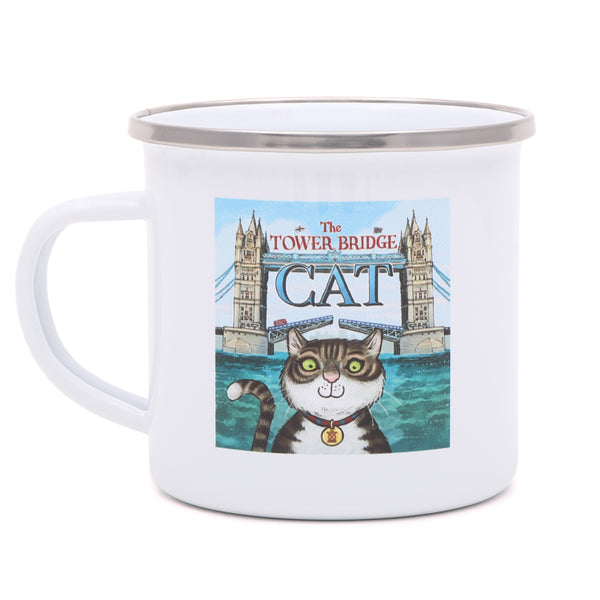 Tower Bridge Cat Enamel Mug 1