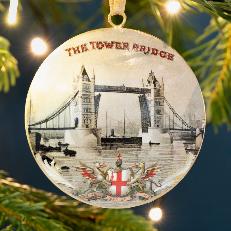 Vintage metal Tower Bridge decoration hanging from Christmas tree