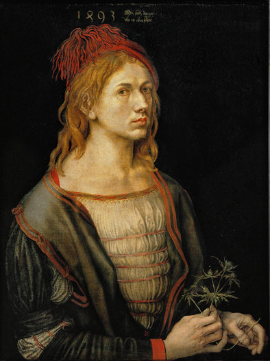 Albrecht Dürer  - Self Portrait Holding a Thistle 1493 - Get Custom Art
