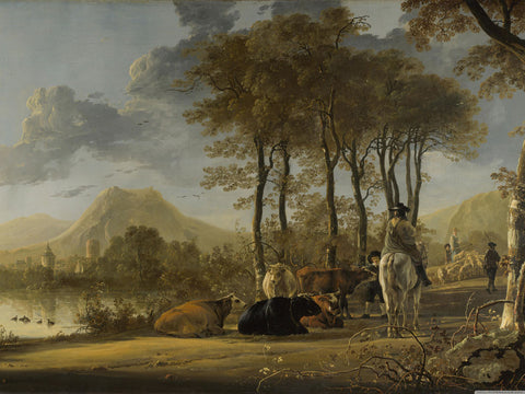Aelbert Cuyp - A Landscape with horseman, herders and cattle