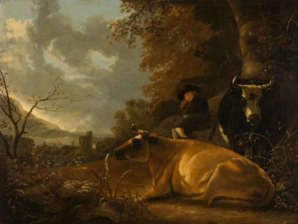 Aelbert Cuyp - Landscape with cows and young herdsman