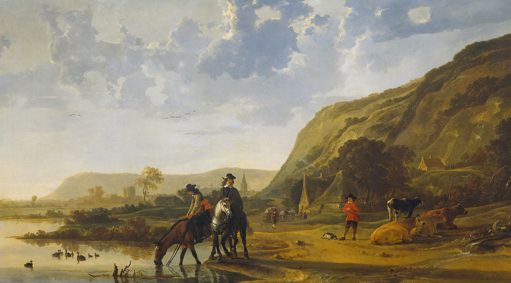 Aelbert Cuyp - River Landscape with Riders