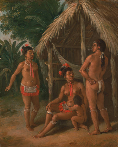 Agostino Brunias - A Leeward Islands Carib family outside a Hut