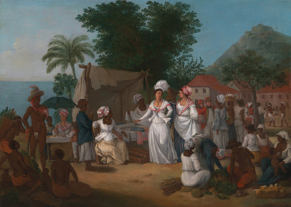 Agostino Brunias - A Linen Market with a Linen stall and Vegetable Seller - Get Custom Art