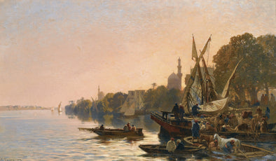 Alberto Pasini - A Ferry on the Nile - Get Custom Art