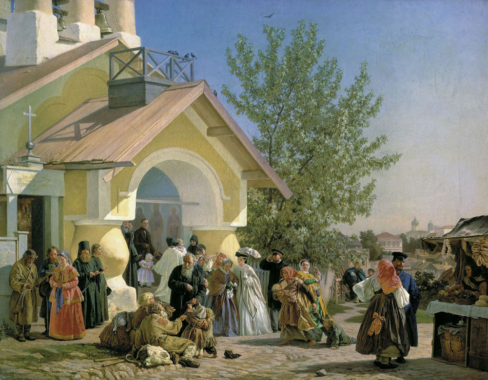 Alexander Andreyevich Ivanov - Leaving Church in Pskov