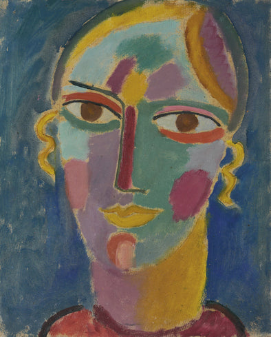 Alexej von Jawlensky - Mystical Head, Woman Head on a Blue Background
