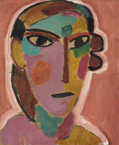 Alexej von Jawlensky - Mystical Head, Woman Head on a Red Background