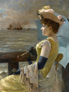Alfred Stevens - A Lady with a Parasol Looking Out to Sea - Get Custom Art