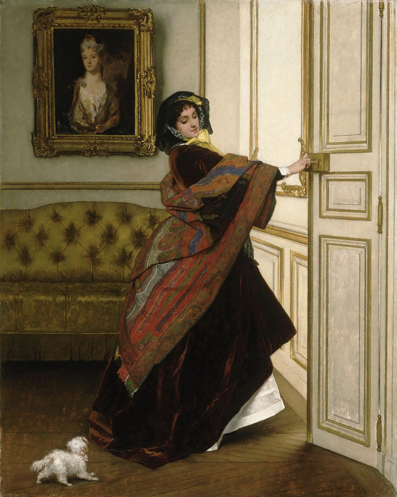 Alfred Stevens - Departing For The Promenade Will You Go Out With Me Fido