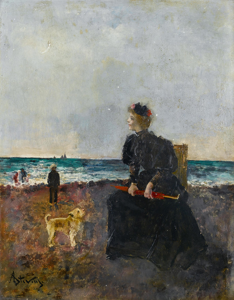 Alfred Stevens - Woman sitting on the beach