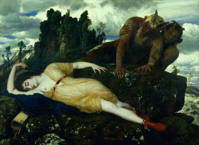 Arnold Böcklin - Sleeping Diana Watched by Two Fauns
