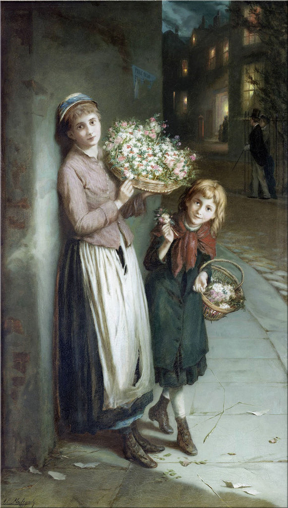Augustus Edwin Mulready - Flower Girls, a summers night