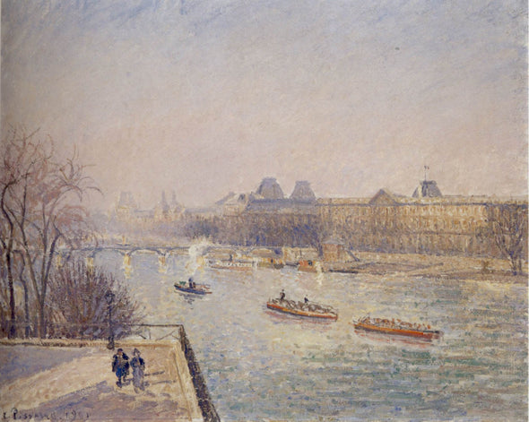 Camille Pissarro - Morning, Winter Sunshine, Frost, the Pont-Neuf, the Seine, the Louvre, Soleil D'hiver Gella Blanc