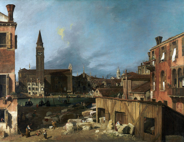 Canaletto - A Stonemasons yard in Venice