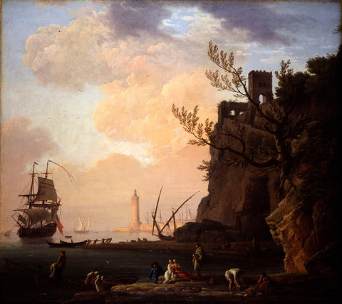 Claude Joseph Vernet - An Italianate Harbour Scene