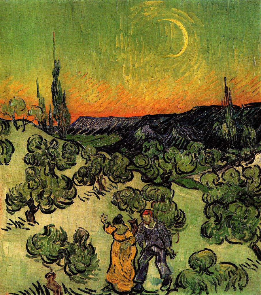 Vincent van Gogh - Landscape with Couple Walking and Crescent Moon