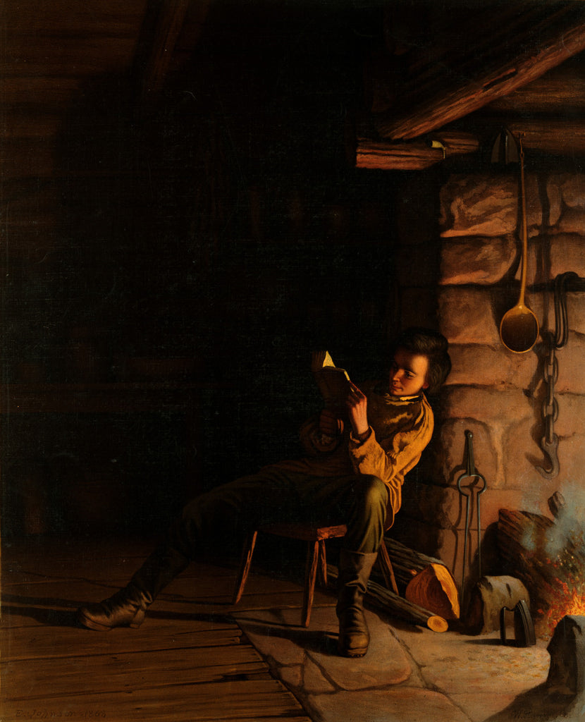Eastman Johnson - The boyhood of Lincoln, an evening in the log hut