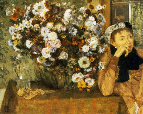 Edgar Degas - A Woman Seated Beside a Vase of Flowers