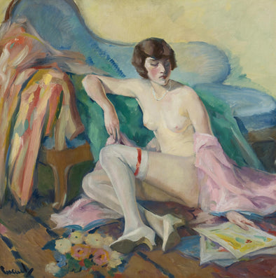 Edward Cucuel - Girl In White Stockings
