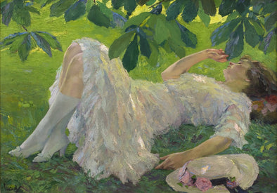 Edward Cucuel - Reclining Woman in White