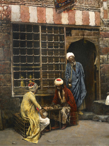 Edwin Lord Weeks - A Game of Chess in Cairo Street