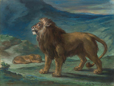 Eugène Delacroix - Lion and Lioness in the Mountains