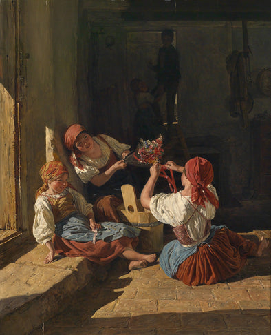 Ferdinand Georg Waldmüller - Children Decorating the Hat of a Conscript