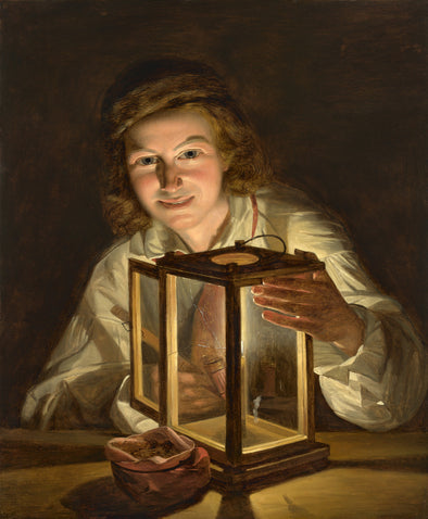 Ferdinand Georg Waldmüller - Selfportrait with a Lantern